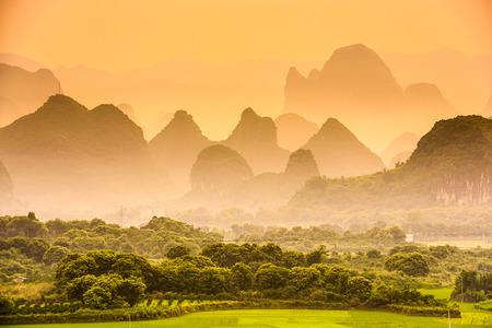 karst: Karst Mountains of Guilin, China. Stock Photo