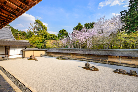 교토, 일본 봄에 료안지 사원 선 바위 정원.