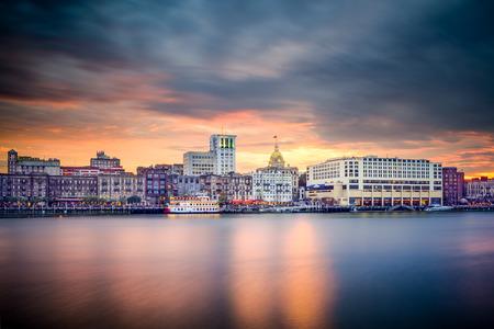Savannah, Georgia, USA riverfront skyline. photo