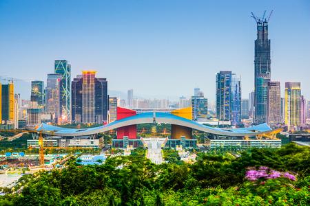 シビック センター地区に中国深圳の街のスカイライン。