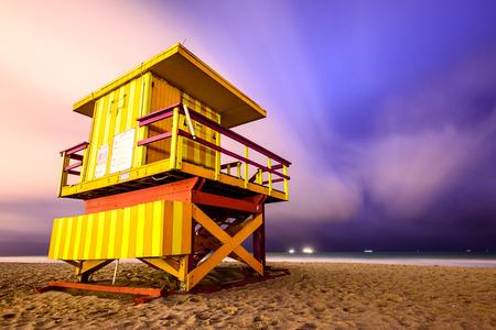 floridian: Lifegaurd tower on Miami Beach. Stock Photo