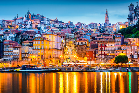 porto: Porto, Portugal  old city skyline from across the Douro River. Stock Photo