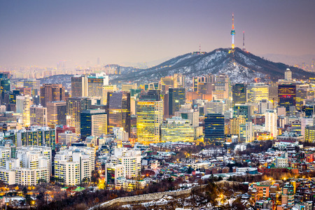 and south: Seoul, South Korea city skyline.