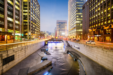 Seoul, South Korea cityscape at Cheonggye stream during twilight. Stock Photo