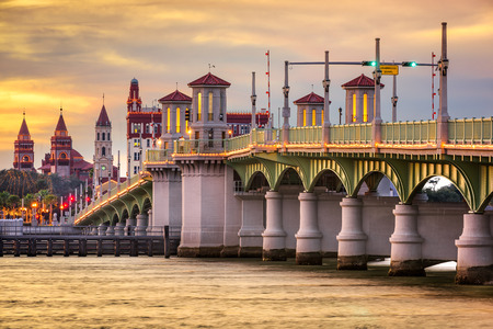 florida: St. Augustine, Florida, USA city skyline and Bridge of Lions.