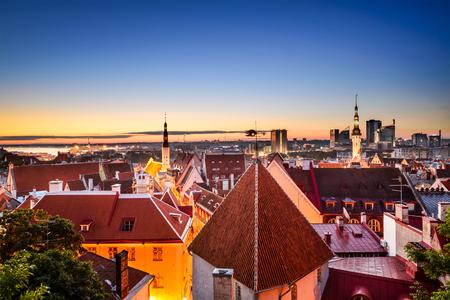 europeans: Tallinn, Estonia dawn skyline in the old city.