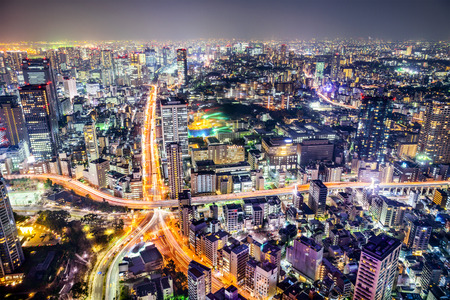 tokyo city: Tokyo, Japan cityscape and highways. Stock Photo
