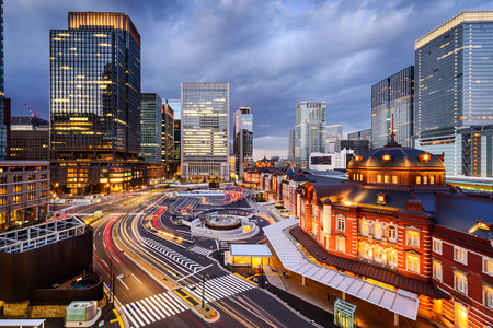 Tokyo, Japan cityscape in the Marunouchi District and Tokyo Station.