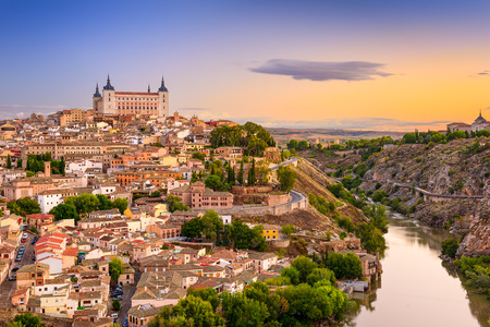 toledo town: Toledo, Spain old city over the Tagus River. Stock Photo