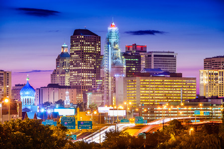 Hartford, Connecticut, USA downtown city skyline over the highway. Stock Photo