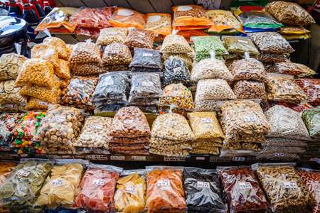 nut: Packaged nuts and dried fruits in a South Korean Market.
