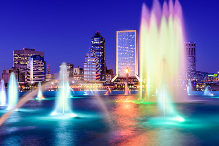 florida: Jacksonville, Florida, USA skyline at the fountain.