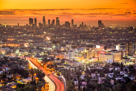 hollywood   california: Los Angeles, California, USA downtown skyline at dawn. Stock Photo