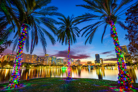 usa cityscape: Orlando, Florida, USA downtown cityscape from Eola Lake. Stock Photo