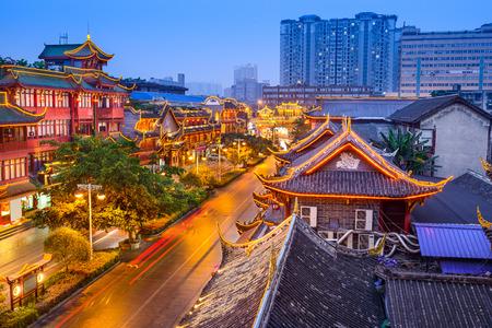 Chengdu, China cityscape over QIntai Road historic district. Stock Photo