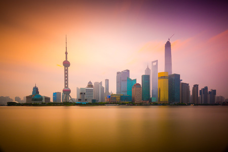huangpu: Shanghai, China cityscape viewed across the Huangpu River at dawn. Stock Photo
