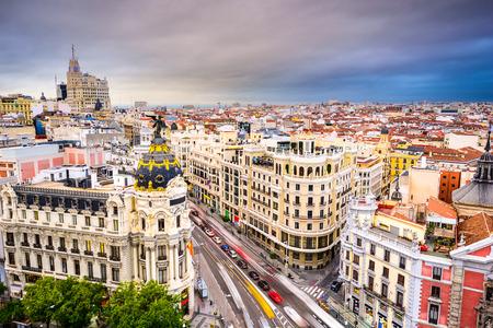 madrid  spain: Madrid, Spain cityscape above Gran Via shopping street.