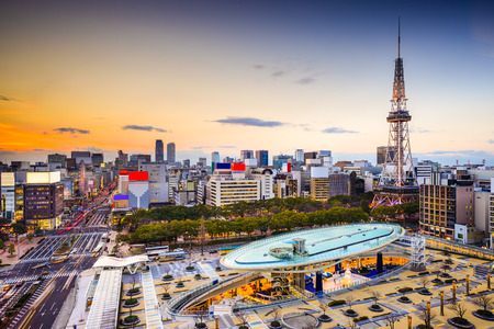 Nagoya, Japan city skyline at the tower. 스톡 콘텐츠