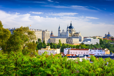 Madrid, Spain skyline at Santa Maria la Real de La Almudena Cathedral and the Royal
