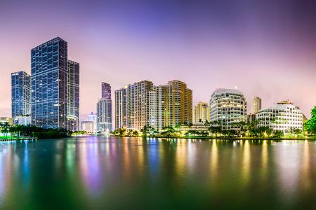 sunset city: Miami, Florida city skyline.