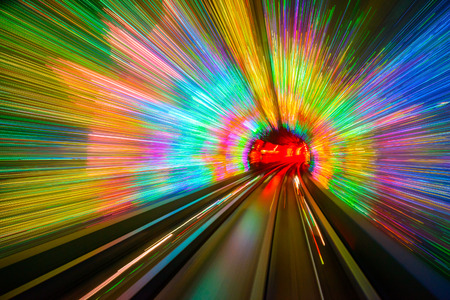 Motion blur in the Shanghai Sightseeing Tunnel.