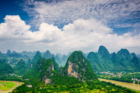 karst: Karst mountain landscape in Xingping, Guangxi Province, China. Stock Photo
