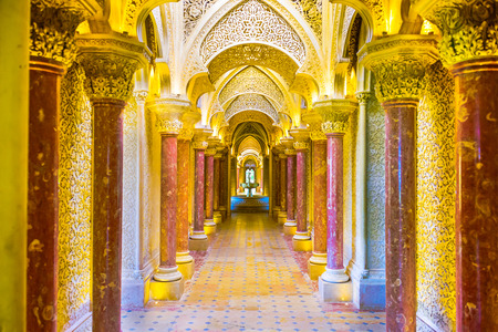 palatial: SINTRA, PORTUGAL - OCTOBER 19, 2014: Monserrate Palace interior in Sintra. The palace was completed in 1858 for Sir Francis cook.