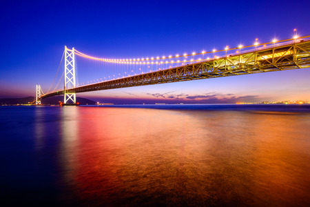hashi: the Okashi Kaikyo Ohashi Bridge spanning the Seto Inland Sea in Kobe, Japan Stock Photo