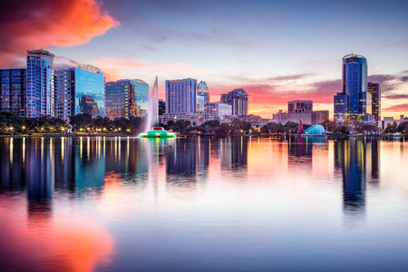 skyline at Eola Lake in Orlando, Florida, USA
