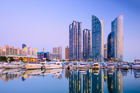 cityscape at Haeundae in Busan, South Korea Imagens