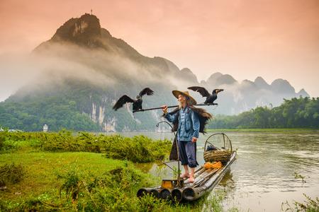 pescador: Un pescador del cormorán tradicional funciona en el río Li Yangshuo, China.