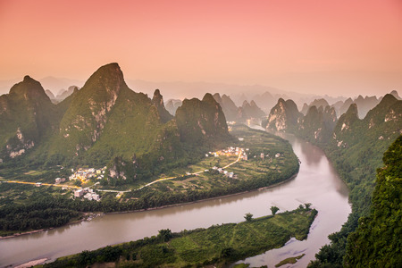 karst: the Li River and karst mountains landscape in Xingping, China