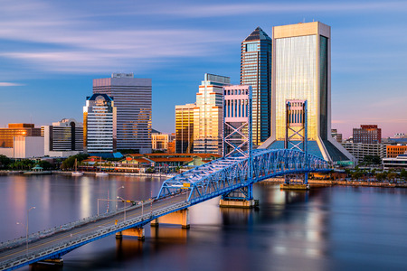 downtown city skyline in Jacksonville, Florida, USA