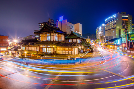 downtown skyline at Dogo Onsen bath house in Matsuyama, Japan