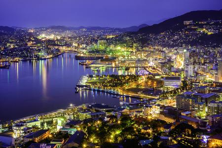 Nagasaki, Japan cityscape at the bay. 免版税图像