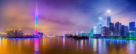 city skyline panorama on the Pearl River in Guangzhou, China Zdjęcie Seryjne