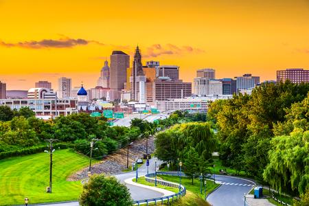 charter: Hartford, Connecticut, USA city skyline from Charter Oak Landing.