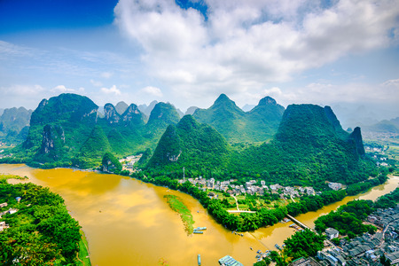 karst: Karst Mountain landscape on the Li River in rural Guilin, Guangxi, China. Stock Photo