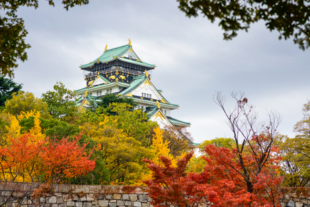 osaka castle: Osaka Castle in the autumn season. Editorial