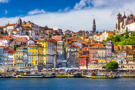 old town skyline from across the Douro River in Porto, Portugal