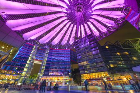 sony: BERLIN, GERMANY - SEPTEMBER 20, 2013: Sony Center at night. The center is a public space located in the Potsdamer Platz financial district.