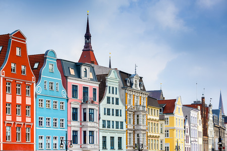 old town cityscape in Rostock, Germany