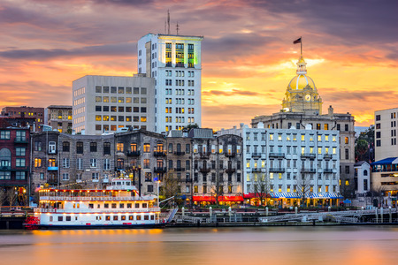 riverfront skyline in Savannah, Georgia, USA photo