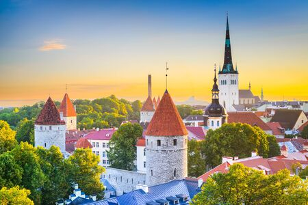estonia: old city skyline in Tallinn, Estonia