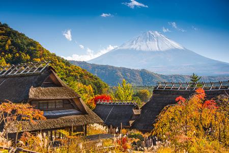 saiko: Iyashi-no-sato village with Mt. Fuji in Japan.