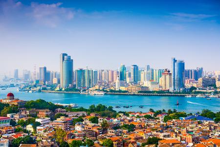 city skyline from Gulangyu Island in Xiamen, China photo