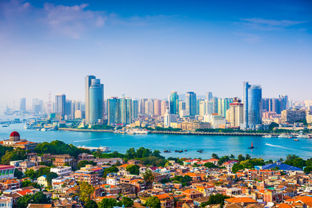 city skyline from Gulangyu Island in Xiamen, China Stock Photo
