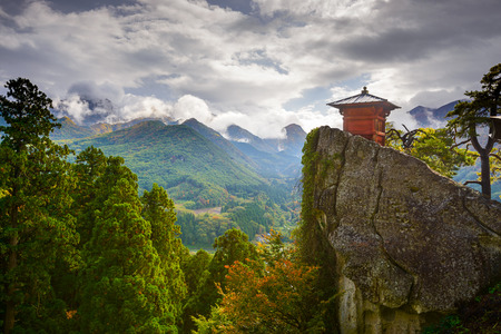 Small shrine building of Yamadera Mountain Temple in Yamagata, Japan.