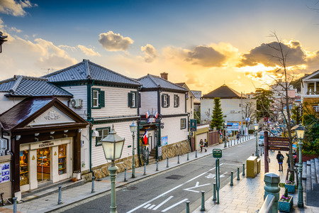 KOBE, JAPAN - JANUARY 25, 2013: The historic Kitano District. The area was once home to many foreign residents and the well preserved houses remain as tourist attractions.