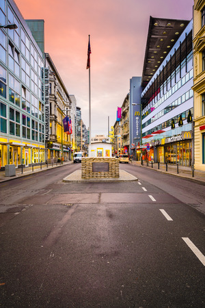checkpoint: BERLIN, GERMANY - SEPTEMBER 20, 2013: Checkpoint Charlie. The crossing point between East and west Berlin became a symbol of the Cold War.